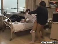 気弱な新人ナースを病室でレイプするモンスター患者の盗撮動画